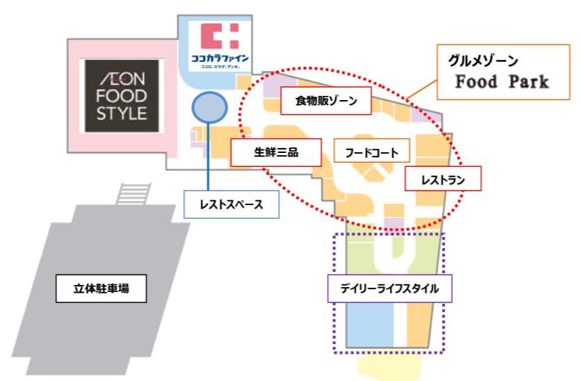 イオンモール藤井寺のフロア構成(1階)