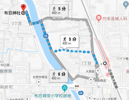 最寄り駅から布忍神社までのアクセス