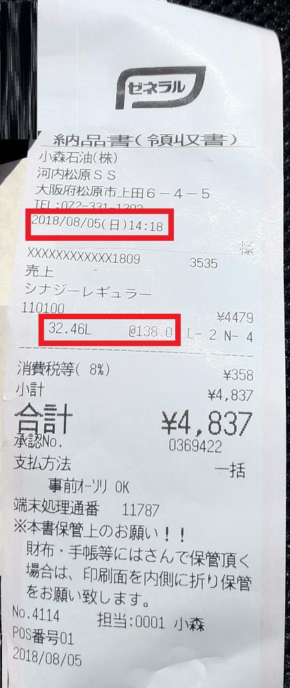 大阪府松原市の安いガソリンスタンド(レシート)