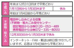 【2018年~2019年】可燃ごみ・不燃ごみ・粗大ごみの年末年始の休止期間