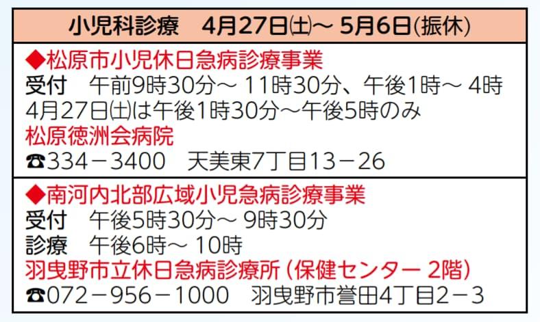 大阪府松原市 2019年のゴールデンウイーク(10連休)の小児科病院の営業情報