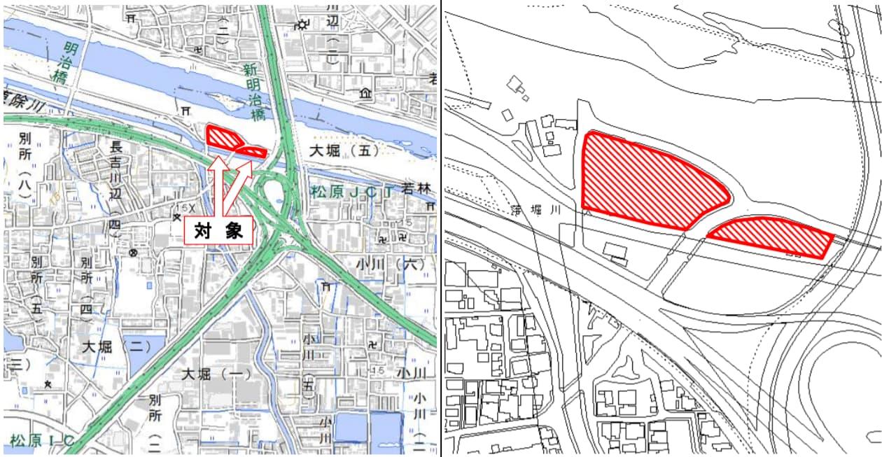 大阪府松原市大堀四丁目の商業施設(位置図)